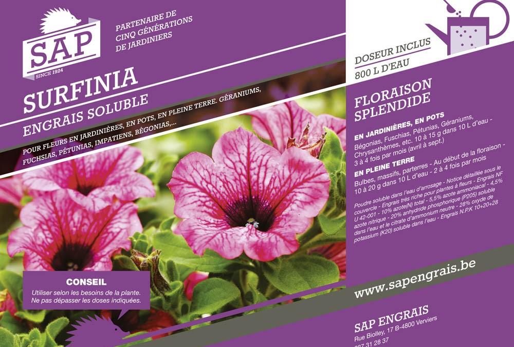 engrais soluble SAP Surfinia pot