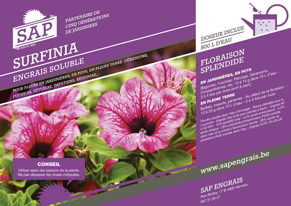 engrais soluble SAP Surfinia pot